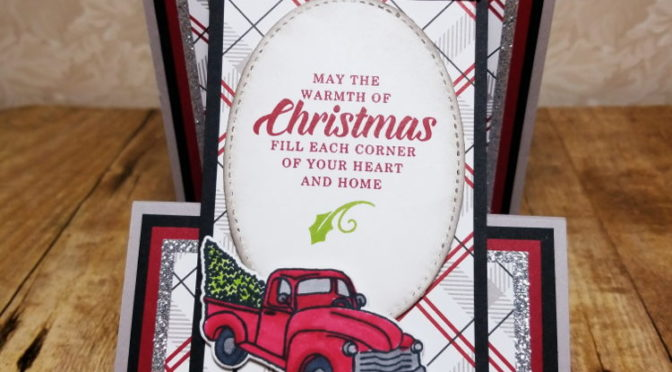 Christmas Card #14 Upright Z fold with Farmhouse Christmas